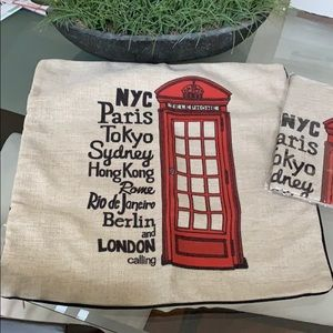 Two Pillow Covers Phone Booth Theme NWT